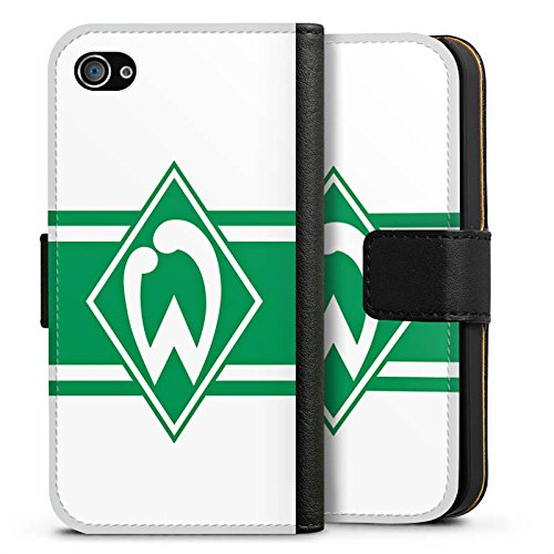 Apple iPhone X Silikon Hülle Case Schutzhülle Werder Bremen Wappen gestreift Fanartikel Sideflip Tasche schwarz