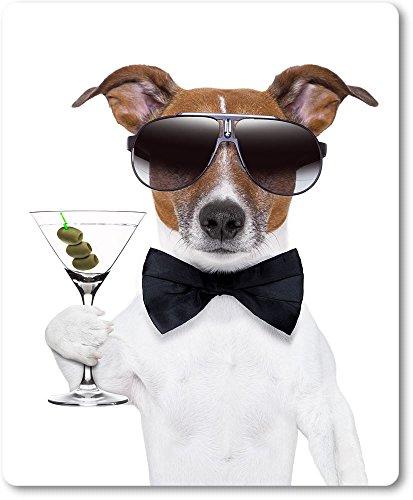 Mauspad / Mouse Pad aus Textil mit Rückseite aus Kautschuk rutschfest für alle Maustypen Motiv: Hund als James Bond mit Martiniglas | 03