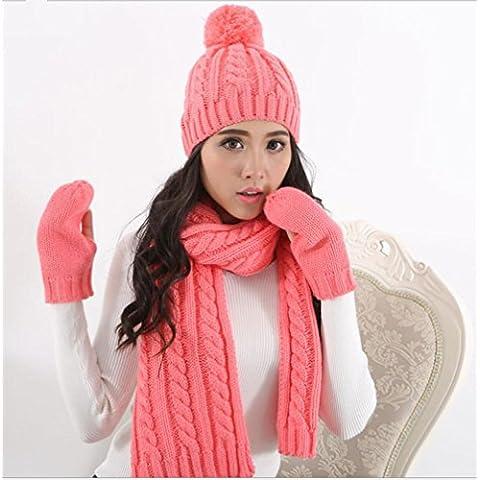 Inverno ispessimento caldo di lavoro a maglia a tre pezzi cappello sciarpa guanti per le signore