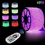 GreenSun LED Lighting Ruban à LED, étanche, 10m RGB Bande LED Lumineuses aux couleurs changeantes avec une télécommande RF de contrôleur à 24 Touches Pour Les Jardins, Maisons, Cuisine, Fête de Noël