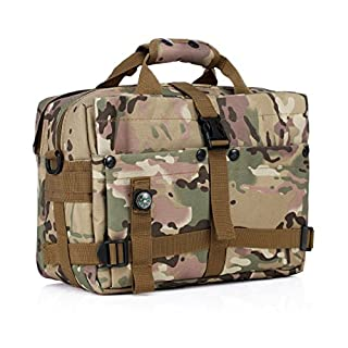 Baakyeek Outdoors Military Bag Combat Army Fans Tactical 13.3 inch Laptop Bag Adjustable Shoulder Strap and Hand-Carring Strap CP camouflage