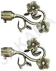 JAKABA Antique Brass Curtain Finials (Without Supports)Curtain Brackets Set/Holders (Pack of 2 Pcs)