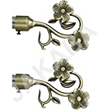 JAKABA Antique Brass Curtain Finials (Without Supports) - Pack of 2 Pcs (Finials 1 Pair) : Curtain Brackets Set/Holders - JKBATX91701_WOS