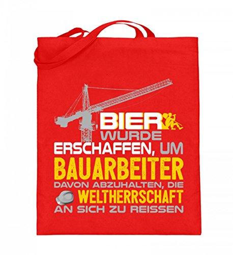 Hochwertiger Jutebeutel (mit langen Henkeln) - Bau - Bier wurde für Bauarbeiter gemacht Rubinrot