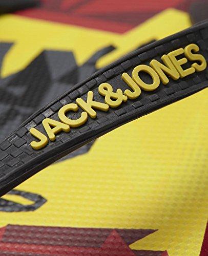 JACK & JONES jjOLYMPICRUBBER PACK FLIP FLOP, Infradito uomo Blu blu Nero/Giallo/Rosso