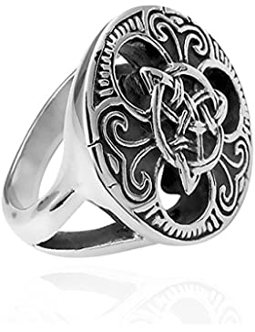 Ring Herren Edelstahl Keltischer Knoten Triquetra Dreiecksknoten Gothic