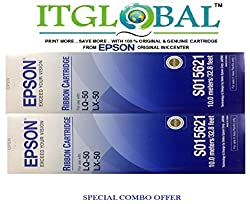 Epson LQ 50 / LX 50 [Pack of 2] Original Ribbon Cartridge--Special ITGLOBAL Combo With Scratch & Win Reward Offer - From ITGLOBAL