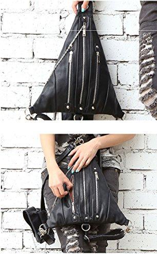 Henmerry Rock vintage gothic retro Steampunk Handbag portamonete, Uomo donna, Red Black5