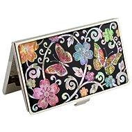 Mère de perle crème hydratante UME & fleur papillon fleur métal acier inoxydable porte de Visite pour carte d 'identification avec étui de rangement
