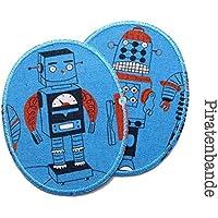 Set 2 Knieflicken Roboter Flicken zum aufbügeln für Kinder