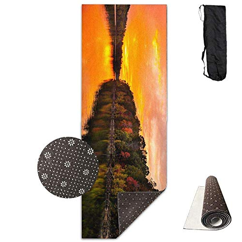 FGRYGF Workout Mat for Yoga, Beautiful Sunset View The Boat Yogamatte - Advanced Yogamatte - Non-Slip Lining - Easy to Clean - Latex-Free - Lightweight Durable - Long 180 Width 61cm
