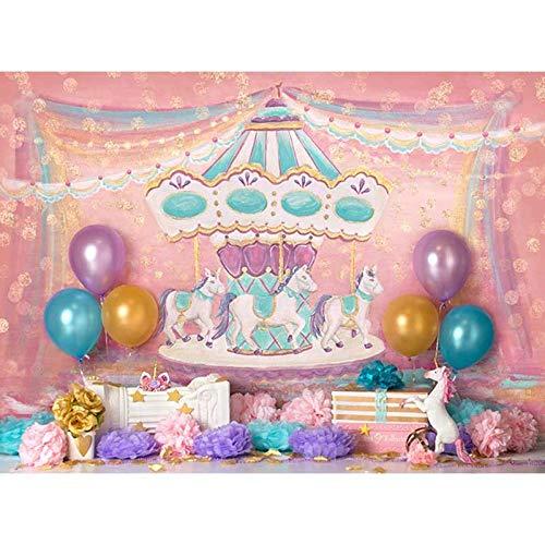S`good Fotohintergrund,Vinyl Fotografie Hintergrund Pink Carousel Ribbon Ballon Neugeborene Geburtstagsfeier Benutzerdefinierte Foto Hintergründe @ 300X200Cm_Polyester -