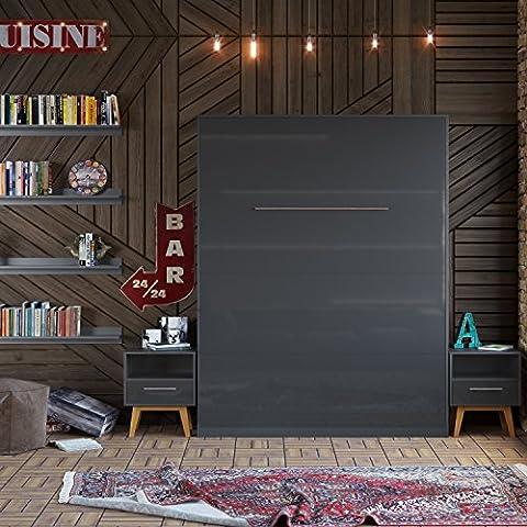 SMARTBett Lit escamotable de 160 x 200 cm Vertical, Armoire Lit, Le lit mural pliant (anthracite /avant anthracite brilliant)