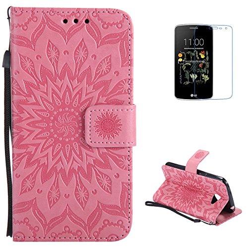 KaseHom LG K5 PU Billetera Funda + [Protector de pantalla libre] Presionado Sun Flower Design [Desmontable] con ranuras para tarjetas Cubierta magnética con protección completa - Rosado
