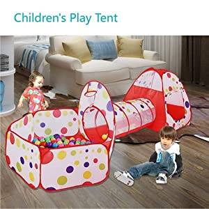 MAIKEHIGH soft play Indoor/Outdoor Play Tunnel and Play Tent Cubby-Tube-Teepee 3 In 1 Playground for Children Baby Kids Toys BALLS NOT INCLUDED by MAIKE MALL