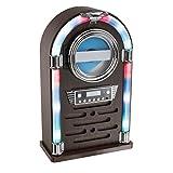Bluetooth CD-Player als Jukebox Musikbox Radio Retro Farbwechsel Beleuchtung LED (Fernbedienung, Holz-Optik, AUX-In, Lautsprecher, Smartphone)