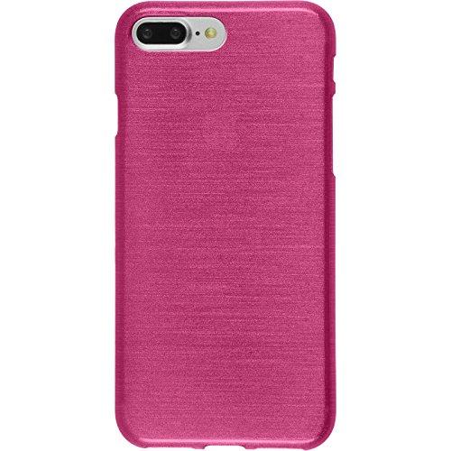 PhoneNatic Case für Apple iPhone 8 Plus Hülle Silikon silber brushed Cover iPhone 8 Plus Tasche + 2 Schutzfolien Pink
