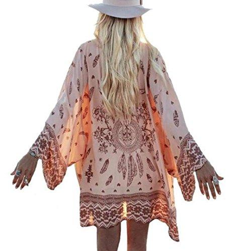 ZEZKT Boho Printed Chiffon Lose Schal Kimono Cardigan Jacke Bluse Bikini Cover Up Strandkleid Jäckchen Dünne Blumendruck Chiffon Strickjacke Boho Gedruckt Tops Deckel Lang Ärmel Bluse (S, Rosa) (Top Hippie Shirt)
