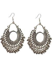 Jewels Kafe German Silver Afgani Tribal Mirror Dangle Earrings for Girls & Women