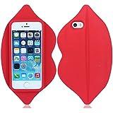 Weich silikon gummi Lippe hülle schale abdeckung case cover housing für iPhone 5 5G 5S(kann nicht passen 5C)_rot