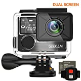 GeeKam Digital Action Camera Dual Screen 4k 30fps Ultra HD WIFI Underwater Waterproof Sports Cam Camcorder 170 Degree Wide Angle Remote Control and 2 Rechargeable 1050mAh Batteries with Accessories Kit