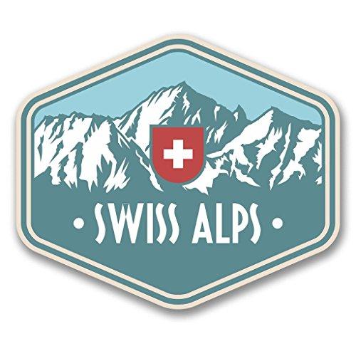 Preisvergleich Produktbild 2x Schweizer Alpen Schweiz Vinyl Aufkleber Aufkleber Laptop Reise Gepäck Auto Ipad Schild Fun # 6389 - 10cm/100mm Wide