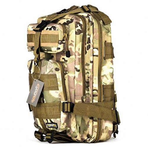 All'aperto Sport Mimetico Zaino Militare Arrampicata Trekking Borsa 3P Tattico Zaino,Black-OneSize CPcamouflage