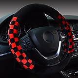 Hivel Hiver Grille Peluche Couvre Volant Voiture Doux Chaud Anti Slip Treillis Vehicule Auto Car Steering Wheel Cover 38cm - Rouge