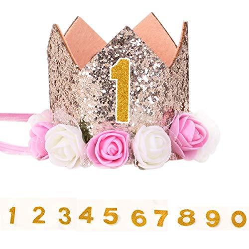 Comtervi Krone Pet Geburtstag Hat, für Hunde Katzen Kätzchen Wiederverwendbar Geburtstag Party Pet Haarband Hüte mit 1–9 Ziffern Zubehör (4)