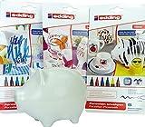 SET: Porzellan-Sparschwein - 14 x 10 cm + Edding 4200 Porzellan-Pinselstifte warme, kalte und bunte Farben (18 Stifte) - für kreatives Basteln zu Hause