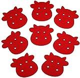 8 Stück Filz Tassen Untersetzer oder Tassen Unterlage, Kuh-Motiv, 10x10cm, 3mm Stärke | Acht einfarbige, süße Kühe perfekt als Deko Tischset für Tassen und Gläser aller Größe! (Farbe: intensives Rot)