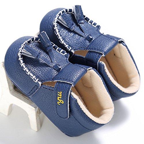 BELLA-Scarpe in Pelle Bambina Primi Passi Scarpette Principessa Neonata Prima Infanzia Blu