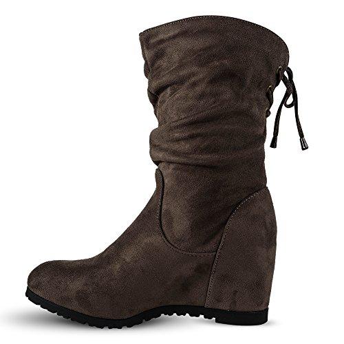 Damen Stiefel Schlupfstiefel Keilabsatz Stiefeletten Boots Wedge ST939 Khaki