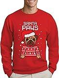 Green Turtle T-Shirts Santa Paws Pfoten - Mops Süßer Herren Weihnachtspullover Sweatshirt X-Large Rot