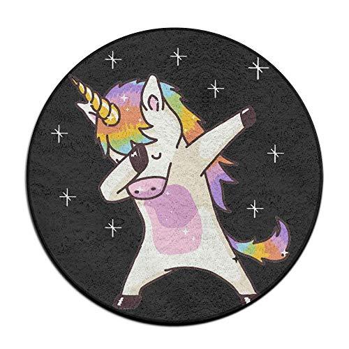 b8d813ce1768 quanzhouxuhuixiefu Unicorn Cute Dabbing Funny Dab Dance Gift Round Floor  Rug Doormats for Dining Room Bedroom Kitchen Bathroom Balcony