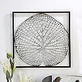 Wanddeko Leaf 42x42cm silber braun Wandbild Dekoobjekt Metall Design Wandschmuck