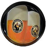 Gastronomie Kellner Servier Tablett - FRANZISKANER - rund schwarz 35,5 cm Durchmesser - mit rutschfester Oberfläche - antirutsch
