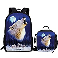 HUGS IDEA Pet Kitten Puppy Printing Backpack with Lunch Bag Set for Childrens