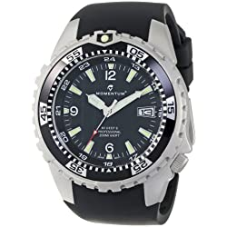 Momentum M1 Deep 6 Men's Quartz Watch with Black Dial Analogue Display and Black Rubber Strap 1M-DV06B4B