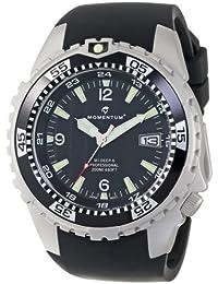 Momentum 1M-DV06B4B - Reloj analógico de cuarzo para hombre con correa de caucho, color negro