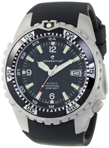 Momentum Herren-Armbanduhr XL M1 DEEP 6 Analog Quarz Kautschuk 1M-DV06B4B (Momentum Taucheruhr M1)