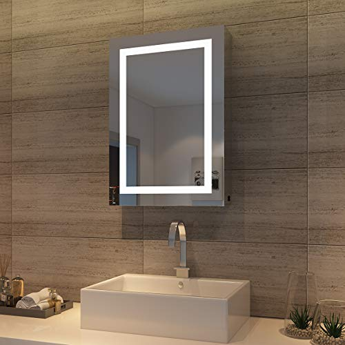 *sunnyshowers LED Spiegelschrank 70 x 50 x 13 cm Hochglanz Badezimmerspiegel – Badschrank mit Beleuchtung*