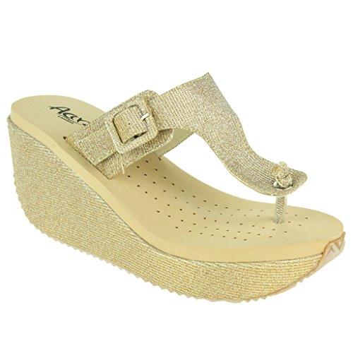 Femmes Dames Toe Post Réglable Coupe large Tous les Jours Casual Confort Enfiler à Talons Compensés Sandale Chaussures Taille Or