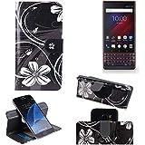 K-S-Trade Schutzhülle für BlackBerry Key 2 LE Dual-SIM Hülle 360° Wallet Case Schutz Hülle ''Flowers'' Smartphone Flip Cover Flipstyle Tasche Handyhülle schwarz-weiß 1x