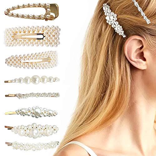 Perle Haarnadeln für dickes Haar Frauen Mädchen Dame, elegante Mode weiße Perle Blume Clips Haarspangen für Haar-Styling - Elegante Damen-mode