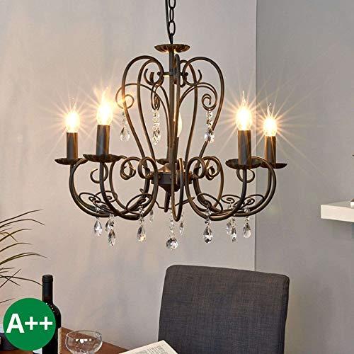 Lampenwelt Kronleuchter \'Sophina\' dimmbar (Retro, Vintage, Antik) in Schwarz aus Metall u.a. für Wohnzimmer & Esszimmer (5 flammig, E14, A++) - Pendelleuchte, Hängelampe, Lüster, Lampe, Deckenleuchte