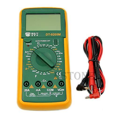 FlowerPEI DT9205M Handheld 31/2 Digital Multimeter DC AC Spannung Diode Strom Transistor Temperatur Freguency Continuity Tester LCD Multitester Meter für Labor Zuhause Messwerkzeug