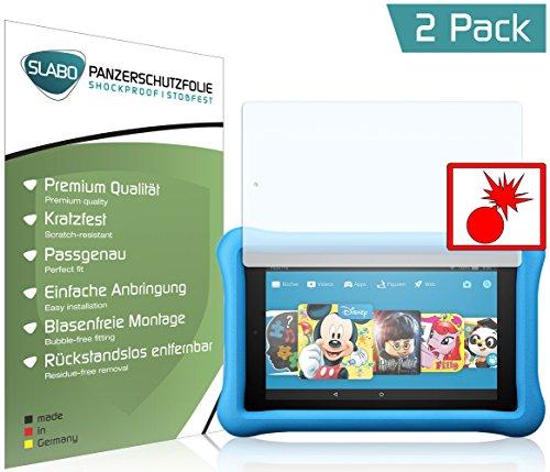 Slabo 2 x Panzerschutzfolie Amazon Fire HD 8 Kids Edition (7. Generation - 2017) Panzerfolie Displayschutzfolie Schutzfolie Folie Shockproof KLAR - unsichtbar Made IN Germany