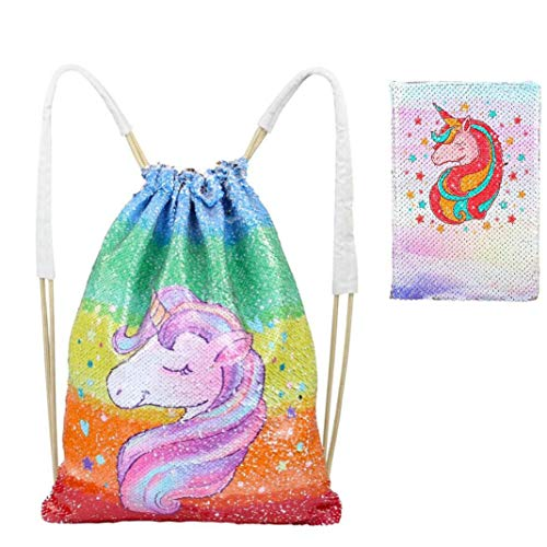 Zcoins Unicorn Sequin Drawstring Backpack with Sequin