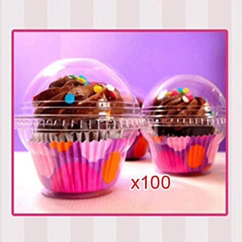 Sonline 100 x Caja Transparente para Cupcake Pastel Torta